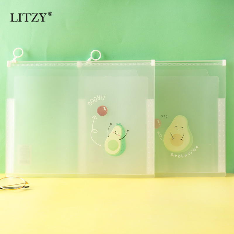 LITZY A4 Three-dimensional File Bag Avocado Planet Transparent Kit Kawaii PP File Folder For School Office Stationery Supplies