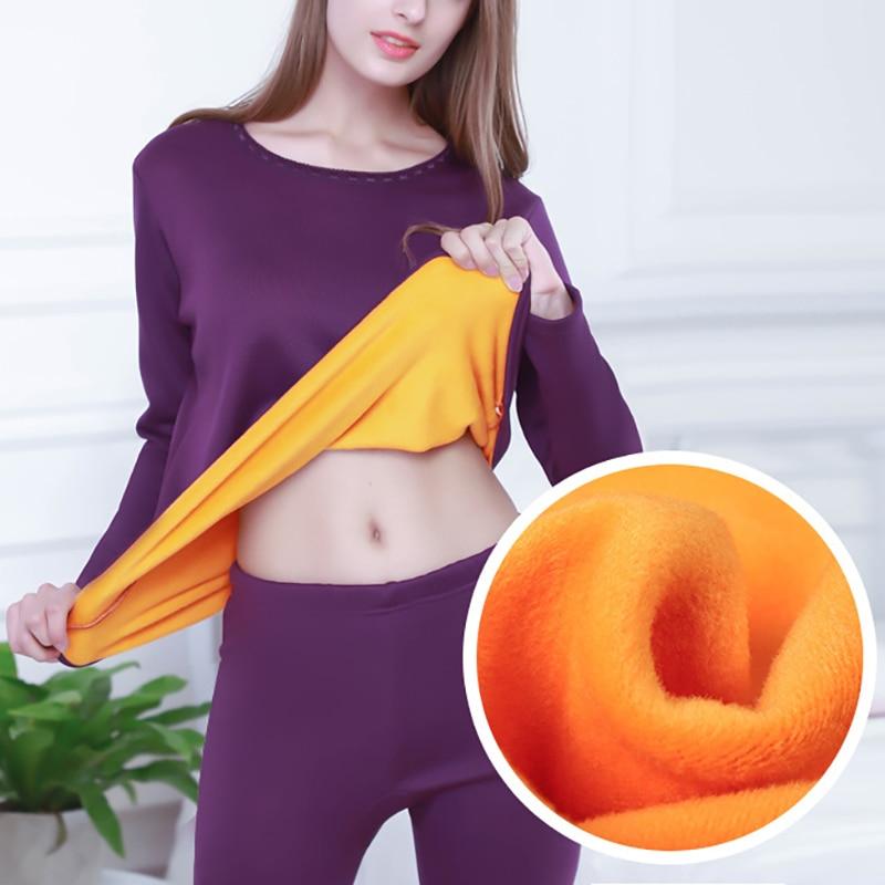 Winter Thermal Underwear Men Women Long Sets Fleece Keep Warm Plus Size Tops+Pants Clothes