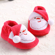 New Infant First Walkers Newborn Shoes Toddler Girl Christmas Soft Warm Autumn Winter Shoes Baby First Walkers Footwear Crib cheap Leanbh Hug CN(Origin) Cotton Fabric Shallow Slip-On Cartoon Animation Unisex Rubber Fits true to size take your normal size