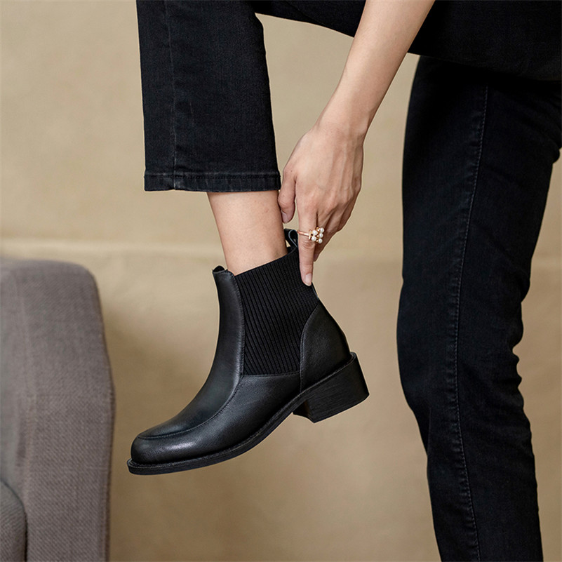 Meotina Genuine Leather Mid Heel Chelsea Boots Women Ankle Boots Shoes Chunky Heels Slip On Short Boots Autumn Winter Apricot 40