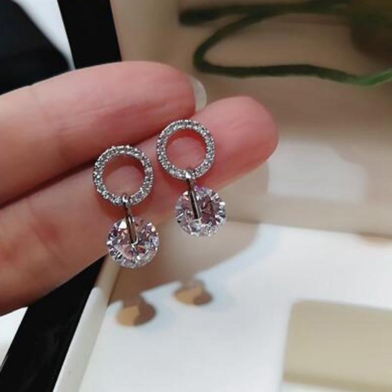 Shiny Zircon Geometric Dangle Earrings For Women Girls Sweet Rhinestone Circle Pendent Drop Earrings High Quality Jewelry