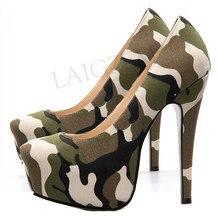 LAIGZEM – plateforme de Camouflage pour femmes, escarpins à talons aiguilles, mode, Zapatos Mujer, chaussures de fête, grande taille 44 45 46 47