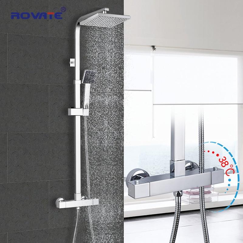 Термостатический душевой набор ROVATE, смеситель для ванны с постоянным контролем температуры, Душевая система, латунь, хром