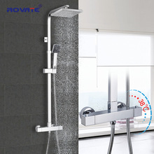 Shower-Set Thermostatic Bath-Faucet Bathroom Chrome Brass ROVATE Temperature-Control