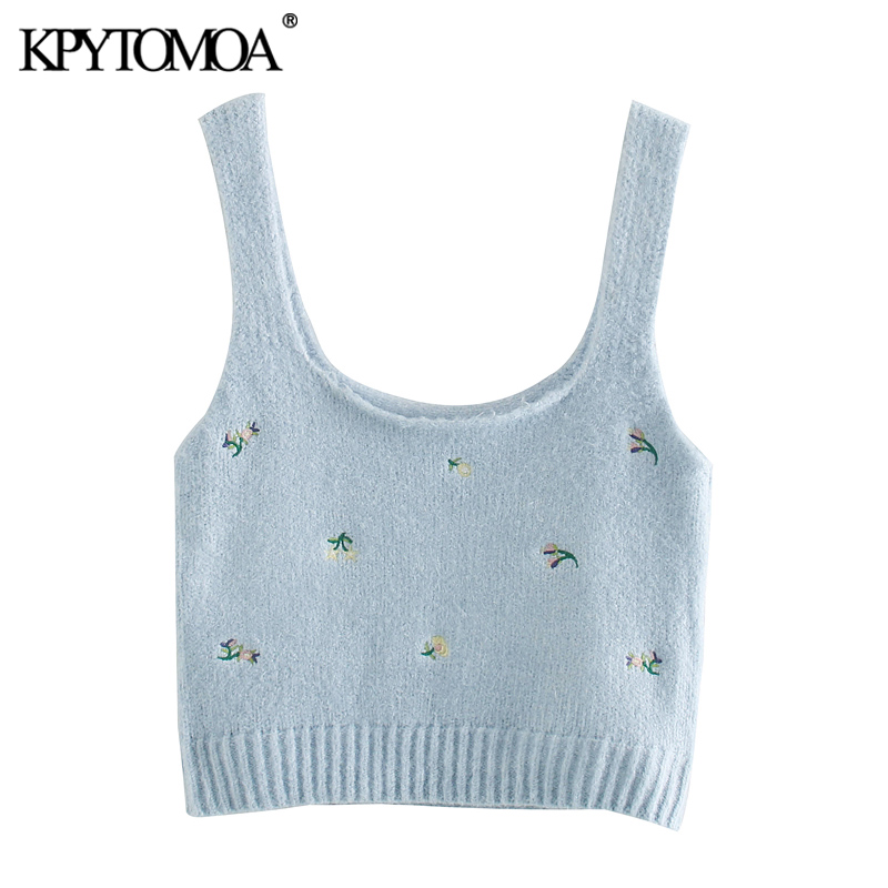 KPYTOMOA Women 2020 Fashion Floral Embroidered Cropped Knitted Blouses Vintage Sleeveless Straps Female Shirts Blusas Chic Tops