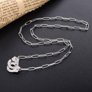 Image 4 - Moonmory S925スターリングシルバー手錠ペンダント & ネックレス女性のためのシルバーチェーン手錠ネックレスホワイトmenottes卸売