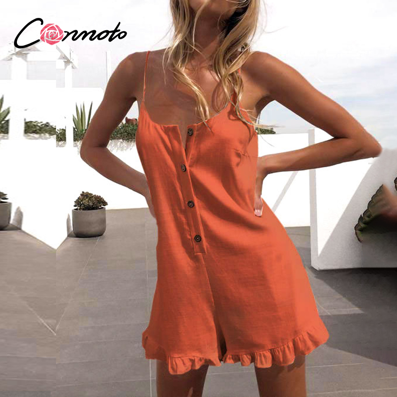 Conmoto Spaghetti Strap Ruffles Sexy Playsuits Women Button Sexy Backless Beach Summer Romper Plus Size Short Jumpsuit Romper