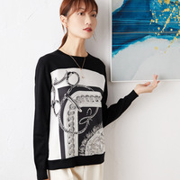 New woo silk Retro printed silk stitched Knitted Top Women s round neck sweater Pullover long sleeve