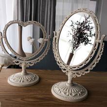 Estilo europeu laço espelho de maquiagem desktop rotativo bege simples conjunto rotação portátil suporte duplo-face espelho