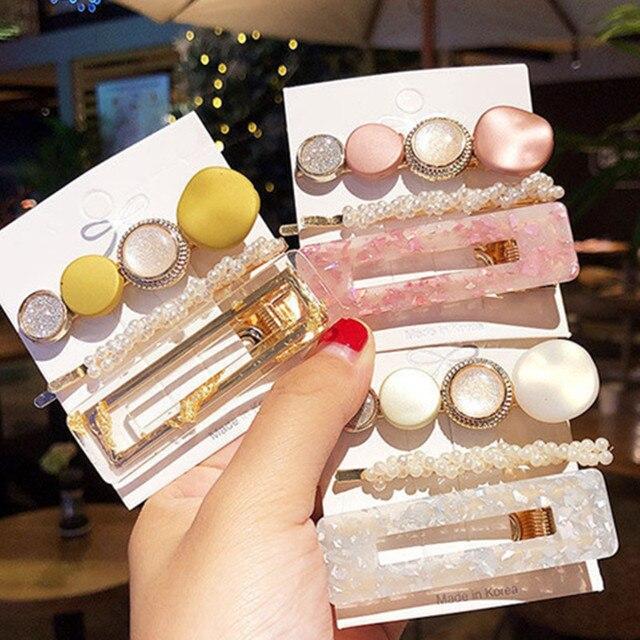 Elegant Side Clip Korean Style Hair Clip Set Pearl Acetate Hairpin Sweet Maiden Pearl Hair Accessories|Hair Clips & Pins|   -
