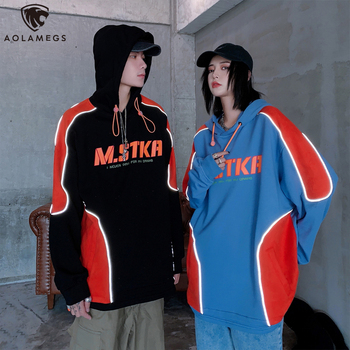 цена на Aolamegs Color Block Patchwork Reflective Strip Cartoon Letter Print Hooded Pullover Hoodie Men Casual College Style Sweatshirt