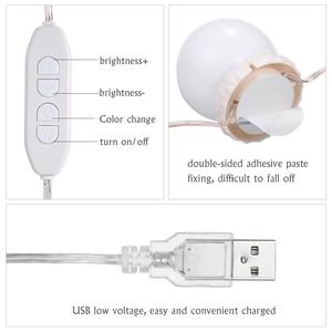 Набор косметических светодиодных зеркальных ламп с 10 лампами, регулируемая яркость, лампа для макияжа, 3 режима освещения, USB зеркальная гирлянда для макияжа