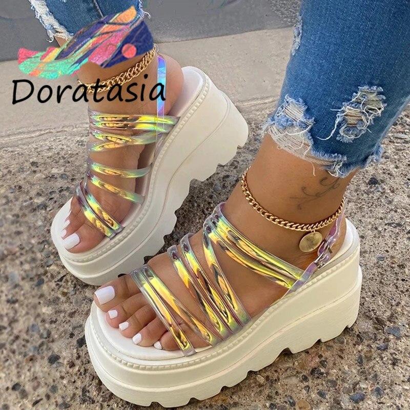 DORATASIA Big Size 35-43 INS Fashion Women Platform Sandals Open Toe Buckle Strappy Brand Sandals Women Summer Shoes Woman