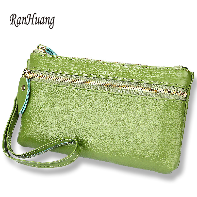 RanHuang New 2019 Women Genuine Leather Wallet Causal Female Wallets Zipper Cow Leather Purses Candy Color Clutch Bags A1605