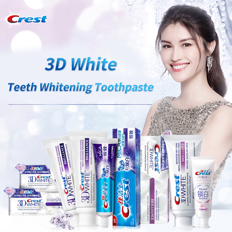 Crest 3D White Toothpaste Teeth Whitening Brilliance Mousse White Care Cherry Blossoms Collection Gum Care Remove Teeth Stain