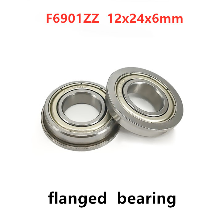 F6901ZZ F61901 ZZ Metal Shielded Deep Groove Flanged Ball Bearing 12x24x6mm