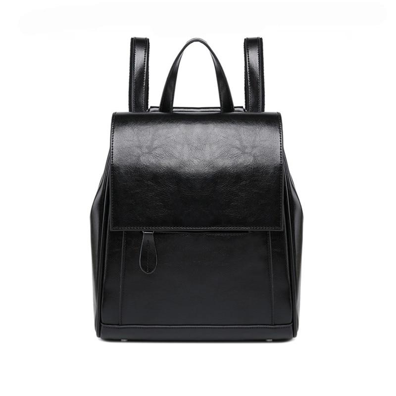 2019 European Genuine Leather Backpack Women Vintage Female Real Leather Shoulder Bag Travel Ladies Bagpack School Bags For Girl