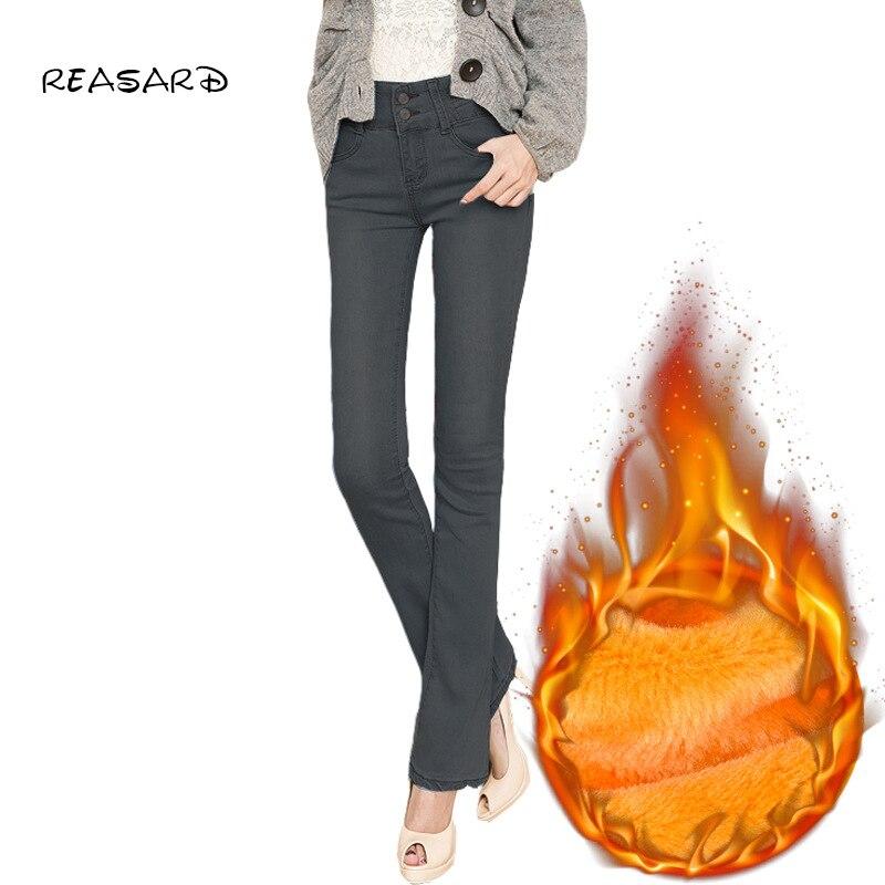 Зимние теплые флисовые обтягивающие расклешенные джинсы для женщин с высокой талией, офисные джинсы для женщин, расклешенные джинсы для ма...