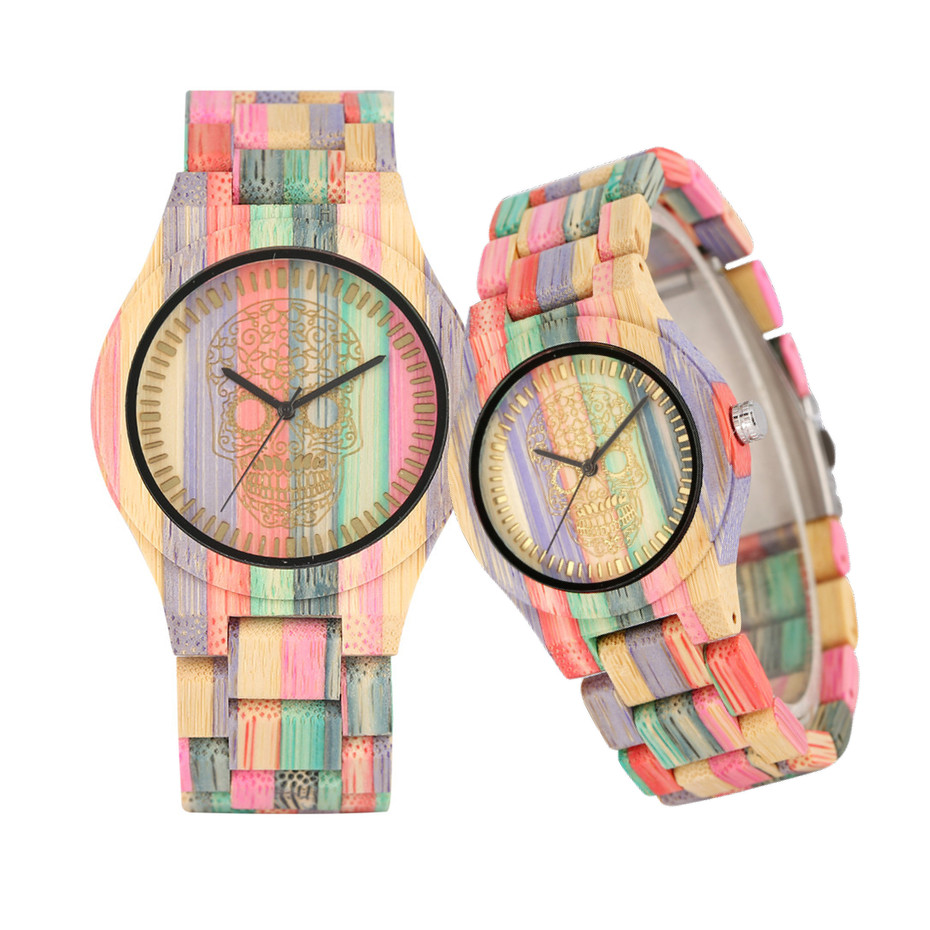 Creative Colorful Bamboo Wood Couple Watches Quartz Timepiece Engraving Skull/Bamboo Pattern Display Wooden Watches Lovers' Gift