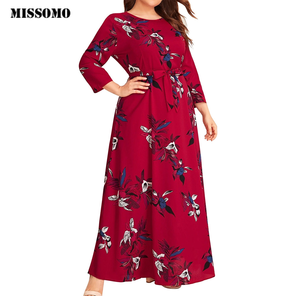 MISSOMO Plus Size 5XL Dress Women Maxi Dress Casual Floral Print O-Neck Long Sleeve Bandage Long Dress  With Belt Vestidos 813