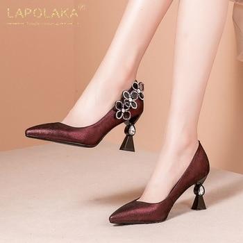 Lapolaka 2020 New Hot Genuine Leather Pointed Toe Strange Style Office Lady Pumps Woman Shoes Slip On Crystal Shoes Women