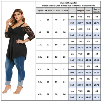 6XL Plus Size Women Shirt Off Shoulder Ladies Tops Lace Long Sleeve Black Blouses Shirt Casual Irregular Streetwear femme D30 5