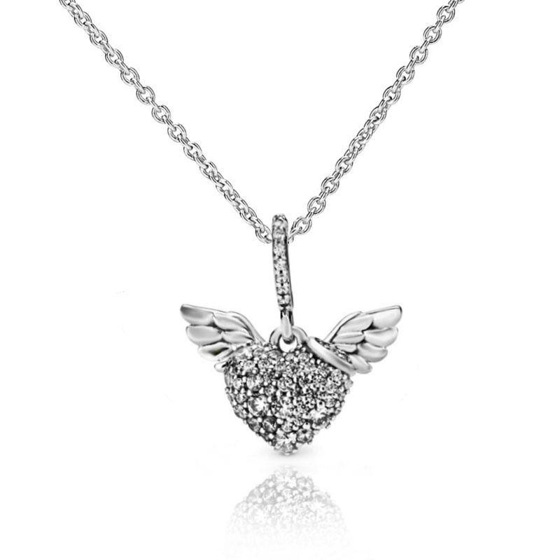 Silver Angels Wing Heart Pendant Chain Necklace Wedding Engagement Jewelry Gift