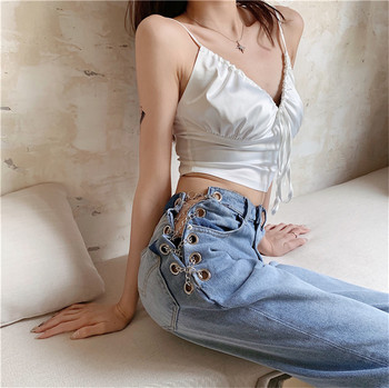 цена на JUJULAND ins style casual blue jeans woman  Straight leg jeans with metal chains 9781