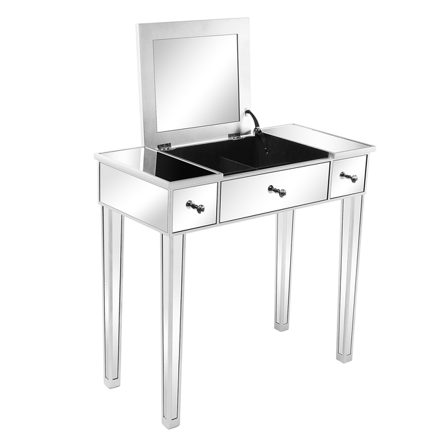 Flip Glass Mirrored Makeup Table Dressing Desk Dresser Anti-Scratch and Rust-Free Easy Assemble Clean[US-Stock] 4