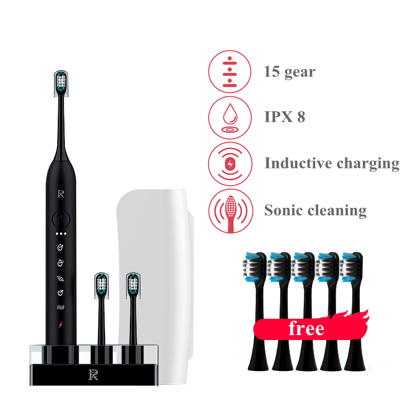 Sonic Electric Toothbrush Inductive Charging Ultrasonic Waterproof IPX8 Automatic Vibrating Teeth Whitening 10 Brush Heads Gift
