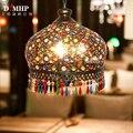 Яркая Подвесная лампа со стеклянным абажуром ручной работы Юго-Восточная антикварная Турецкая Подвесная лампа E14 лампа для бара Asile гостино...