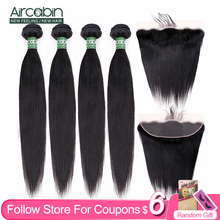 Aircabin Straight Hair Bundles With 13x4 Lace Frontal Brazilian Remy Human Hair 30 Inch Hair Weave Extensions Deep Part Closure