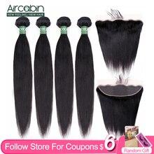 Aircabin, cheveux naturels brésiliens Remy lisses, tissage avec Lace Frontal, 13x4, partie profonde avec Closure, 30 pouces
