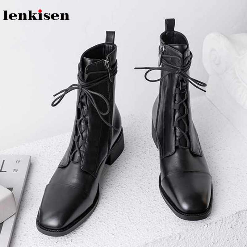 Lenkisen genuine leather vintage British school lace up round toe med heels side Zipper winter warm women new ankle boots L59
