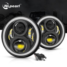 NLpearl – lampe frontale Led à Angle Halo, 7 pouces, phare Led Hi/Low H4, pour Lada Niva Urban Jeep Wrangler Off Road 4x4 12V 24V