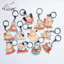 Luyun Acrylic Keychain Cute Cartoon Lucky Cat Keychain Lucky Gift Customizable