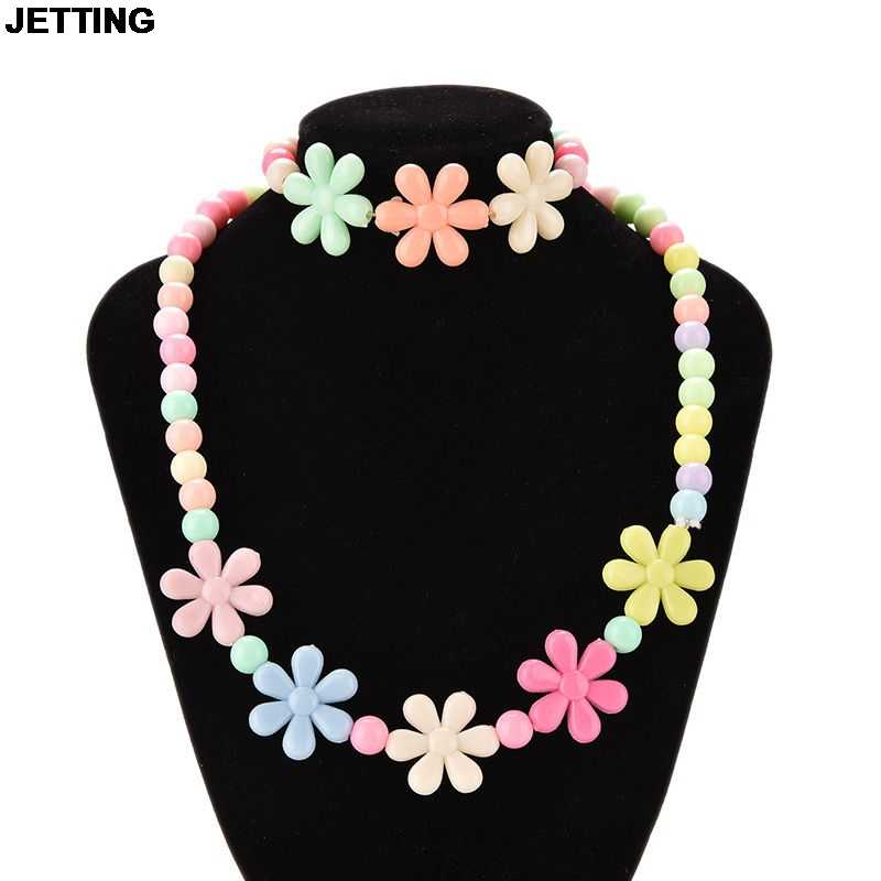 2pcs Lovely Colorful Round Flower Bead Jewelry Set ForGirl Kid Baby Necklace Bracelet Set Fashion Jewelry Handmade Jewelry