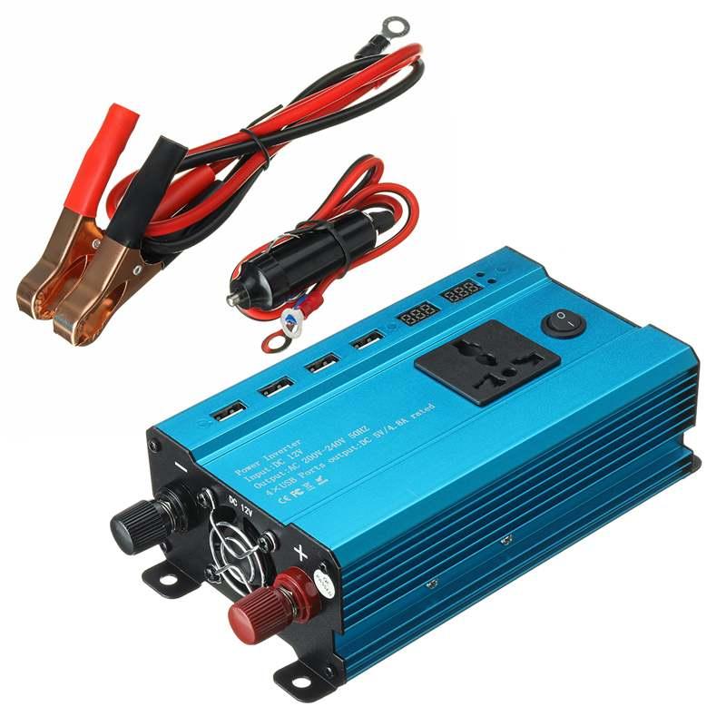 Solar Inverter DC 12V zu AC 220V 2000W 4000W 6000W Inverter Spannung Transformator Konverter 4 USB LED Display Auto Inverter + Buchse