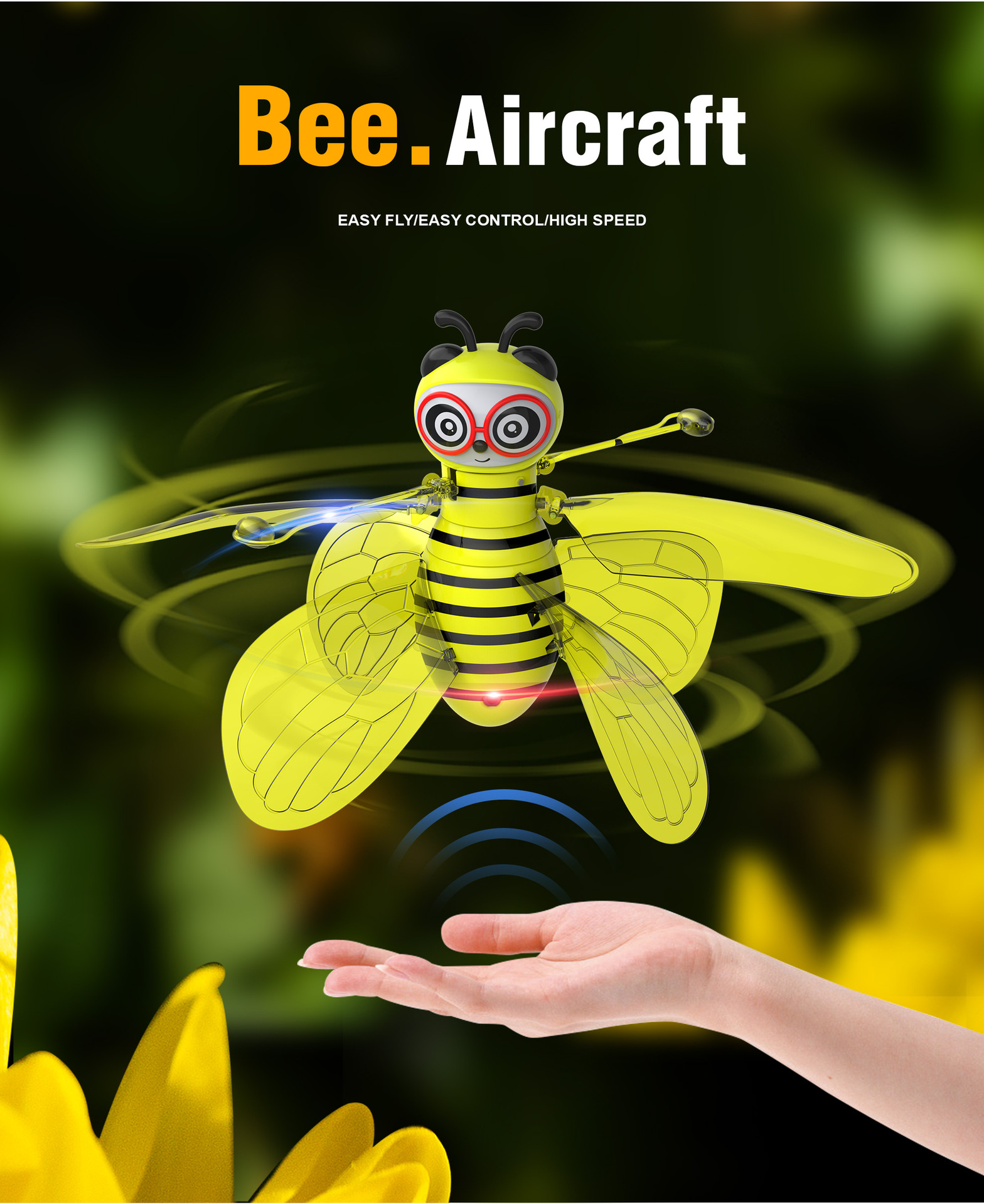RC Flying Mini Bee Remote Control Toy Electronic Infrared Induction Aircraft RC Animal Aircraft Toy Kids Gift