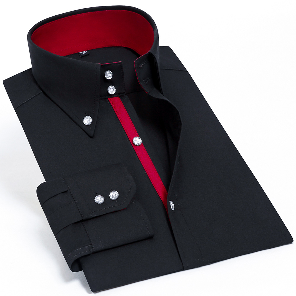 Casual Diamond Buttons Men's Dress Shirt Long Sleeve Black Luxury Business Silk Slim Fit High Collar Stage Western Blouse 1