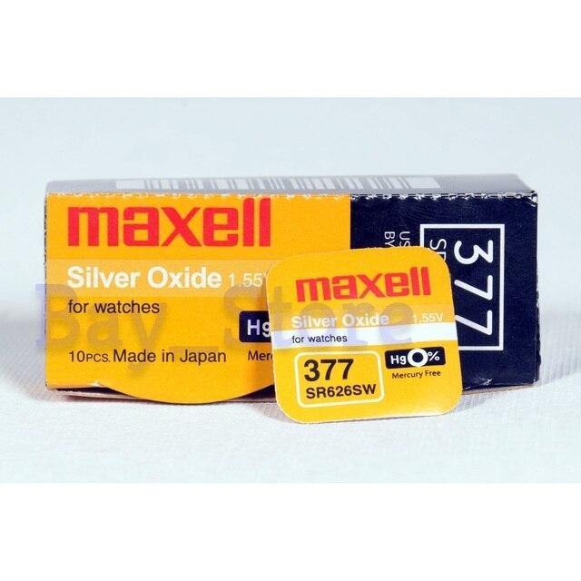 10 قطعة Maxell SR626SW 377 27mAh 1.55 فولت الفضة أكسيد زر خلية البطارية صنع في اليابان