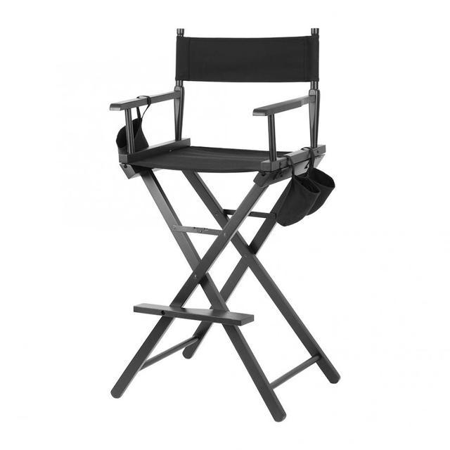 Professional Makeup Artist Directors Chair Wood Lightweight Black Foldable Chair 2