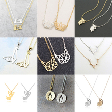 1PC Gold Silver Color Animal Pendant Initial Necklace Personalized Name Jewelry For Women Accessories Girlfriend Gift