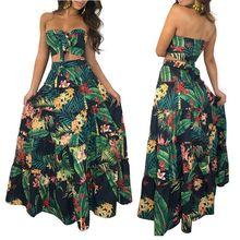 Women print ruffles crop top women tops long skirt 2 piece