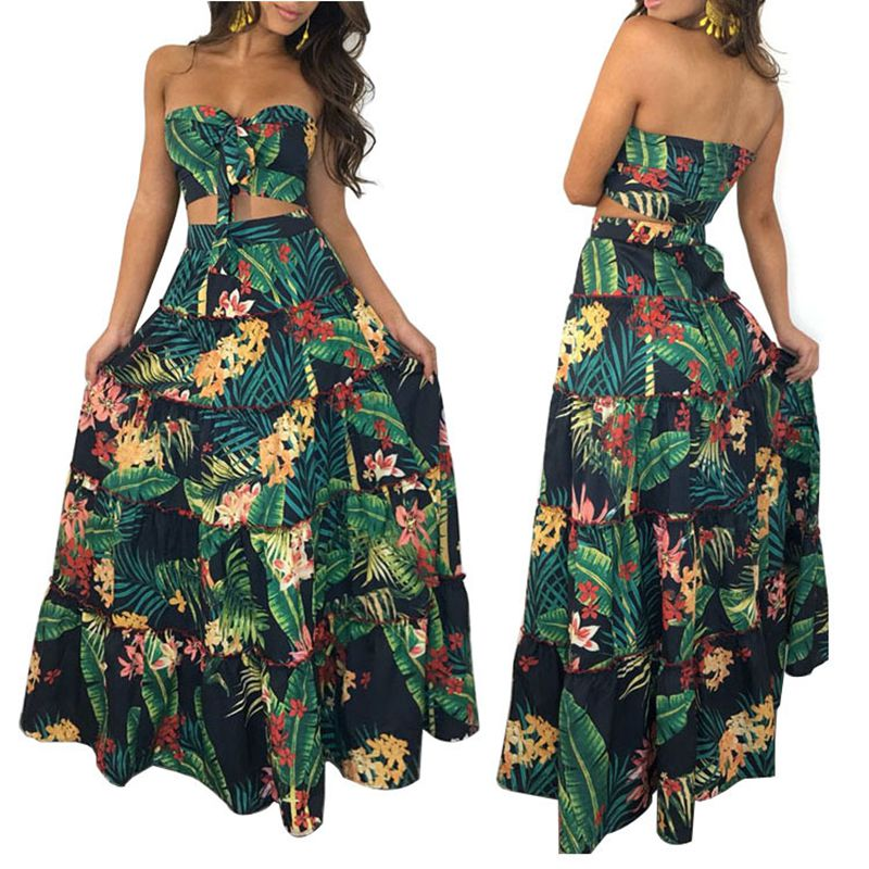 Women Print Ruffles Crop Top Women Tops Long Skirt 2 Piece Set For Female Women Summer Beach Two Pieces Sets Skirts Women Sets