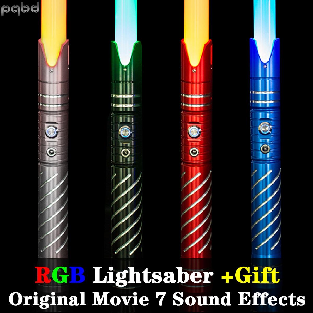 pqbd Laser Sword RGB Original Movie Sound Effects Lightsaber Metal Handle 7 Sets Soundfonts Light Saber Blaster Cosplay Toy Gift