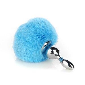 Sky Blue Rabbit Ball Removable Rabbit Tail Anal Stuffed SM Sex Goods Secondary Vestibular Anal Stuffed Tail Strapon Gag