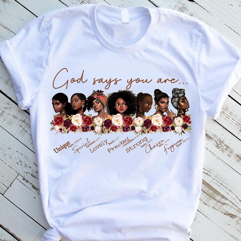 God says you are black girl is beutiful magic t shirt women fashion graphic t shirts black lives matter Juneteenth tshirt tops