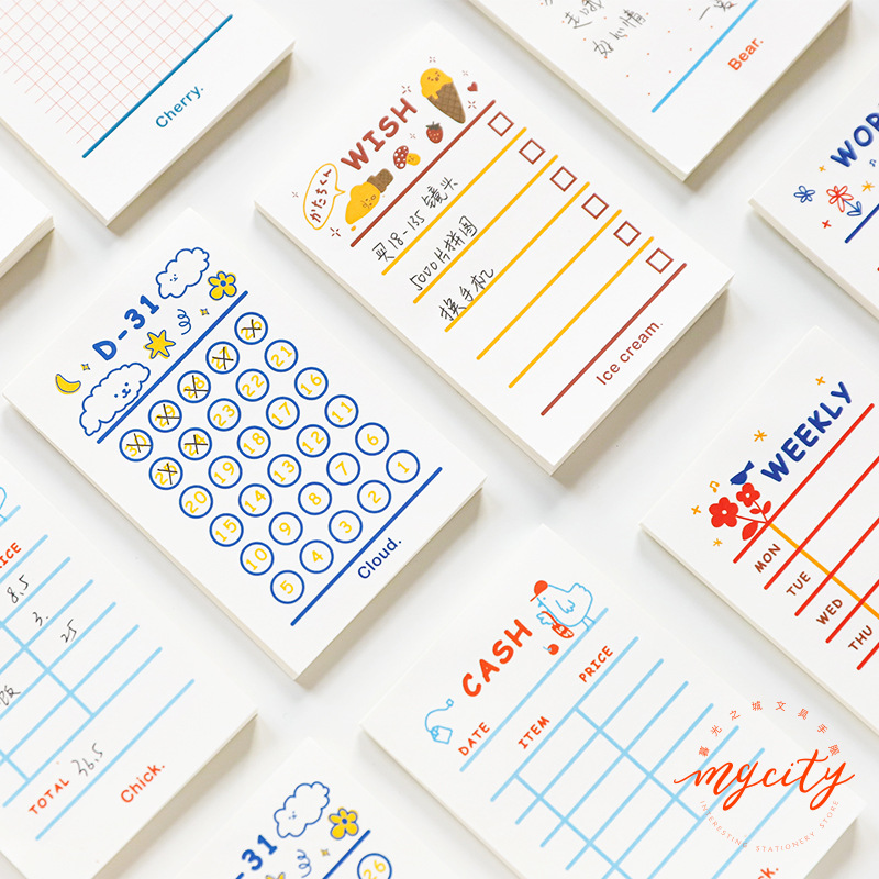 Kawaii Cartoon Memo Pad Sticker Weekly Monthly Palnner To Do List Wish Cash Word Note Cute Japanese Office Stationery Supplies