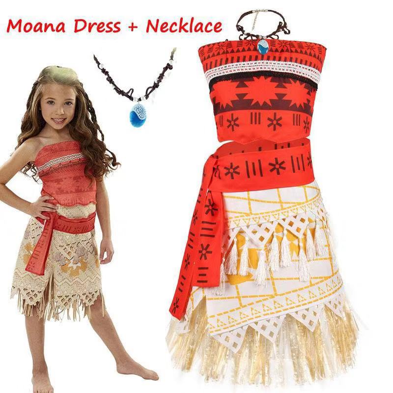 Adult Kids Cosplay Vaiana Moana Princess Costume Dress Necklace Wig  Girl Halloween Party Moana Dress Costume Cosplay